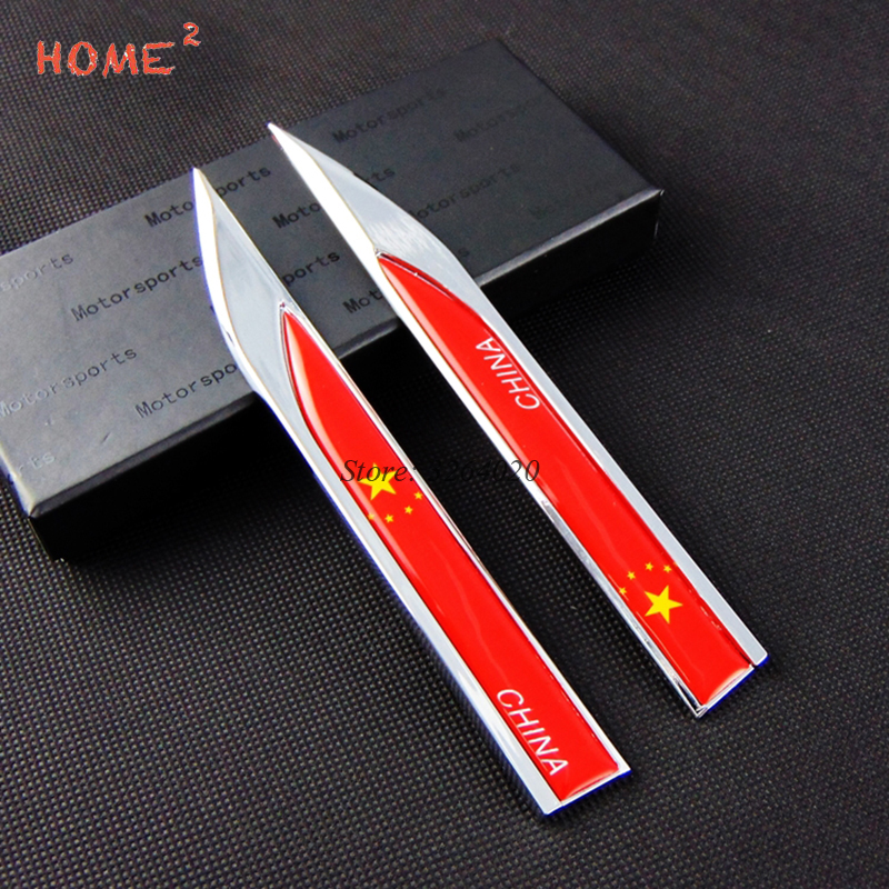 Car Styling for China Flag Logo Side Stickers Accessories Badge Emblem Door Decals for Hyundai Ferrari BMW Audi Mazda Lexus Ford car styling abs chrome body side moldings side door decoration for hyundai ix35