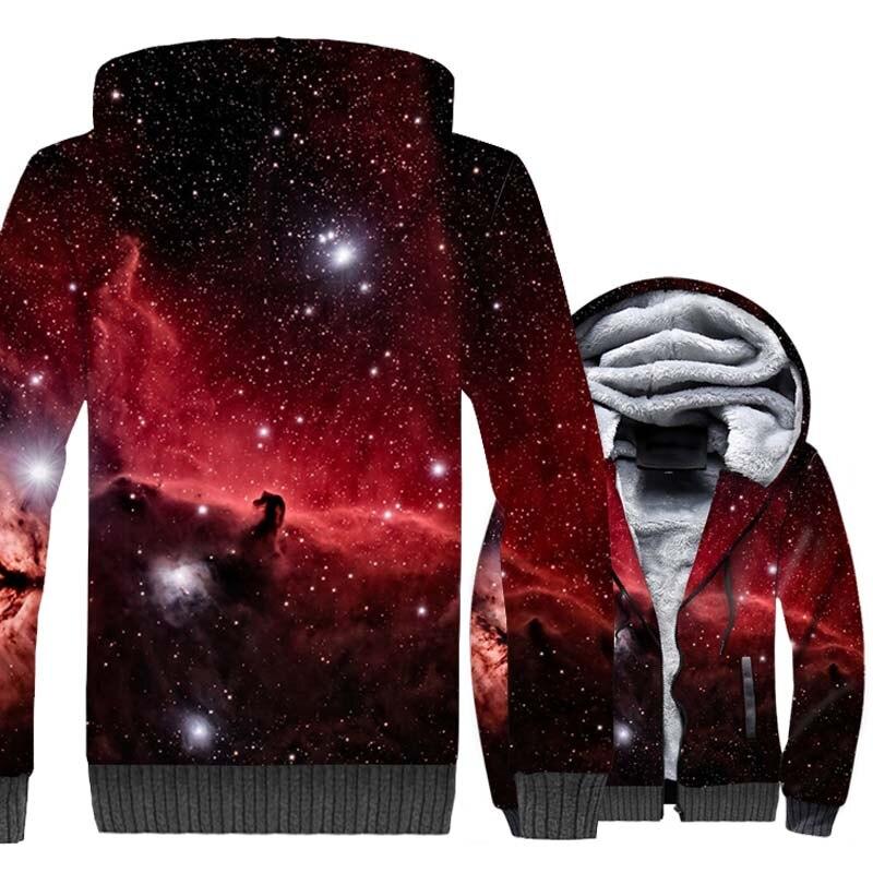 Space Galaxy Sun Star Moon Print 3D Hoodies 2019 New Winter Warm Sweatshirts Men Thick Fleece Jackets Adult Harajuku Sportswear