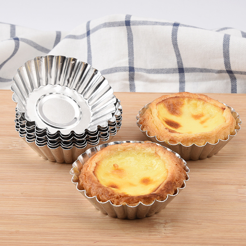 50Pcs Disposable Tart Egg Mold Aluminum Foil Cupcake Cake Tin Cookie Baking Tool