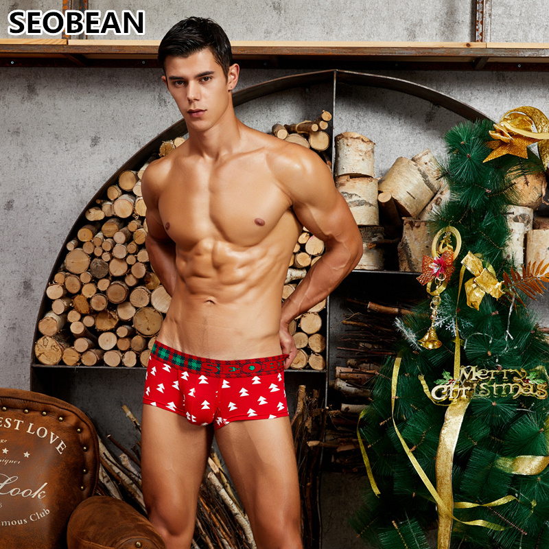 SEOBEAN Men's Underwear Sexy U-pouch Bag Push Up Shaped Christmas Tree Printing Cotton Breathable Boxers