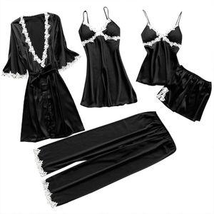Image 2 - Womens Plus Size Summer Faux Silk 5 Piece Pajamas Set Crochet Floral Lace Applique Trim Sleepwear Solid Color Nightgown Babydoll