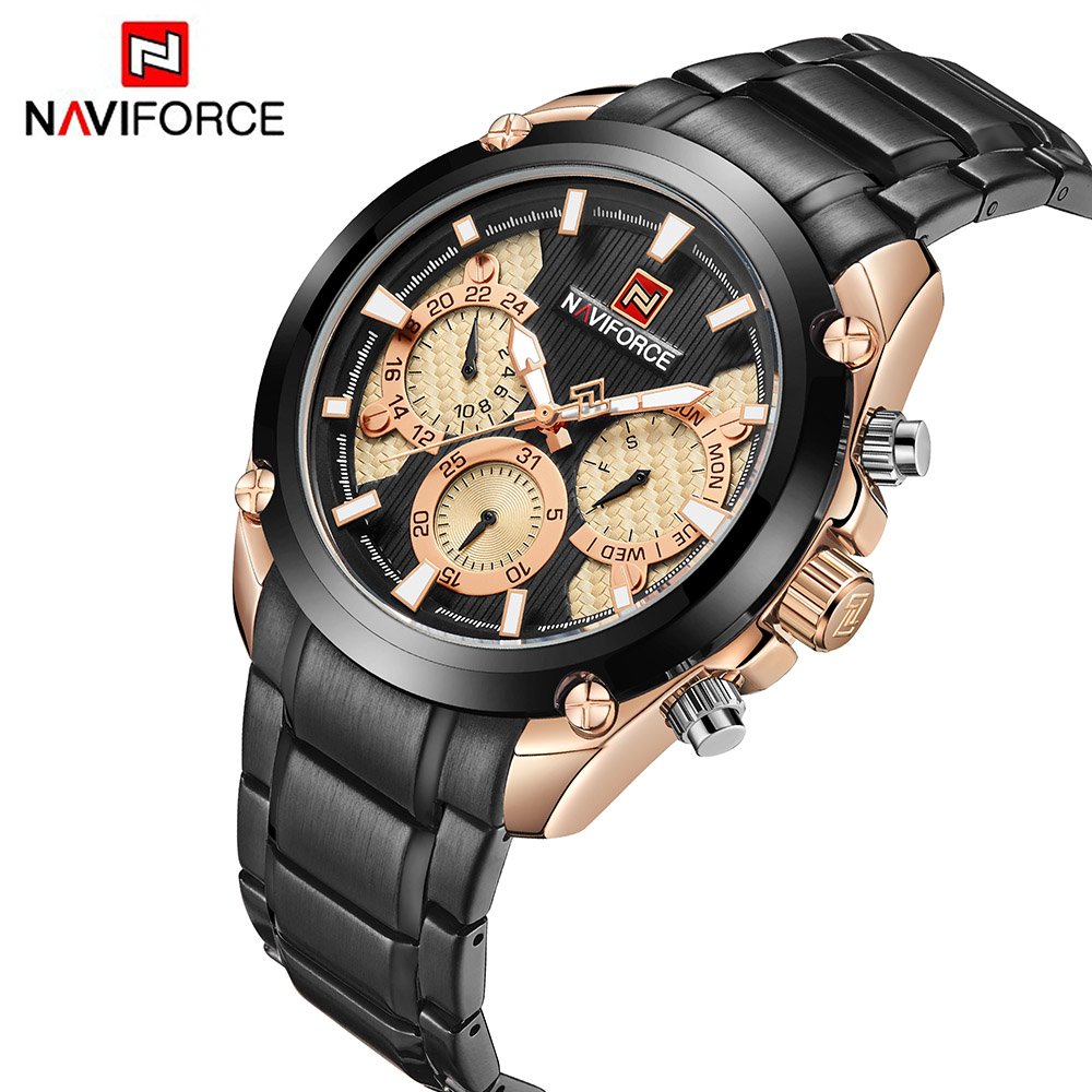 NAVIFORCE Mens Watches Top Brand Luxury Waterproof Military Sport Watch Full Stainless Steel Men Quartz Clock Male Relogios burei mens watches top brand luxury men quartz analog clock stainless steel strap watches waterproof relogios masculino 2018 new