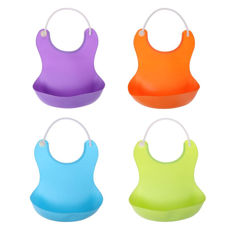 Silica Gel Baby Bibs Solid Color Waterproof Soft Silicone Baby Infant Self Feeding Water/Milk Drinking Burp Bibs