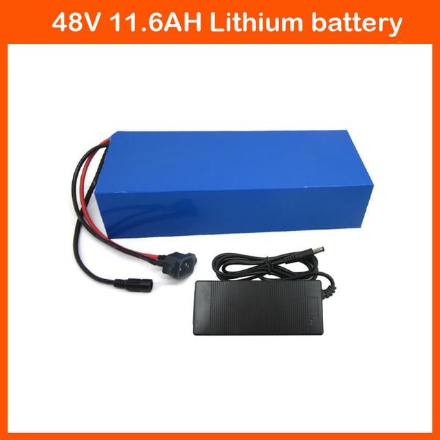 Livraison gratuite 48 v 11.6AH Électrique Vélo batterie 750 w 48 v Au Lithium ion Utilisation De La Batterie Panasonic NCR18650PF Cellulaire avec 2A chargeur