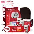 Free 25 Strips Sinocare Safe AQ Blood Glucose Meter Glucometer &100 Test Strips Lancets Medical Blood Sugar Monitor for Diabetes