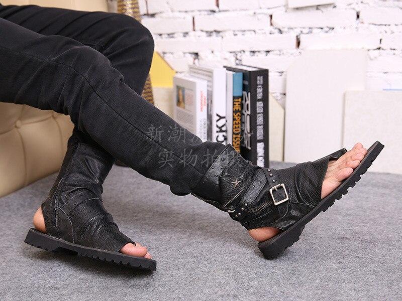 2016 vente chaude d'été plage chaussures hommes sandales noir en cuir véritable tongs Rome style homme cool haute sandales - 4