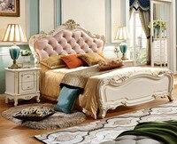 Роскошный европейский и американский Стиль 1.5 м кожа кровать, Европейский Стиль односпальная кровать, двуспальная кровать, кровать принцес