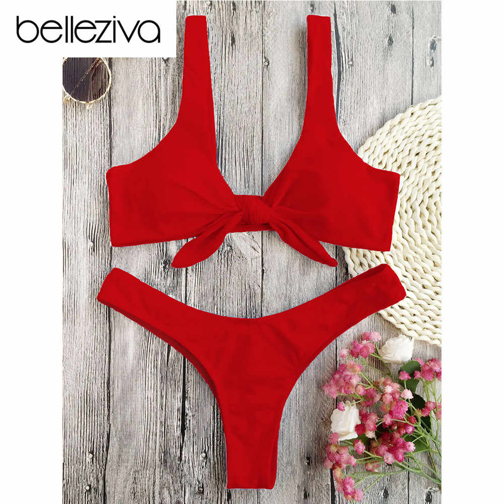 bd3b42879e5cd Detail Feedback Questions about Belleziva Knotted Padded Thong Bikini Set  Solid Color Swimsuit Women Swimwear Bathing Suit Push Up Biquinis Maillot  De Bain ...