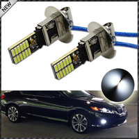 2pcs New Style 6500K HID Xenon White 24 SMD 4014 H3 LED Replacement Bulbs For Car