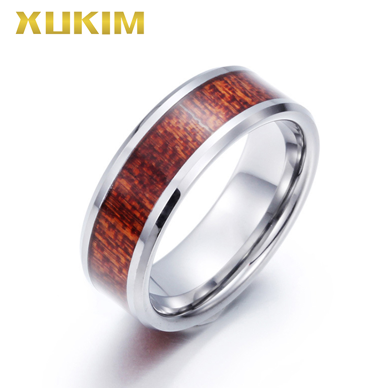 TSR216 Xukim bijoux en acier inoxydable tungstène hommes anneau bois tension réglage anneau résine anneau ruban bande mâle bague de mariage
