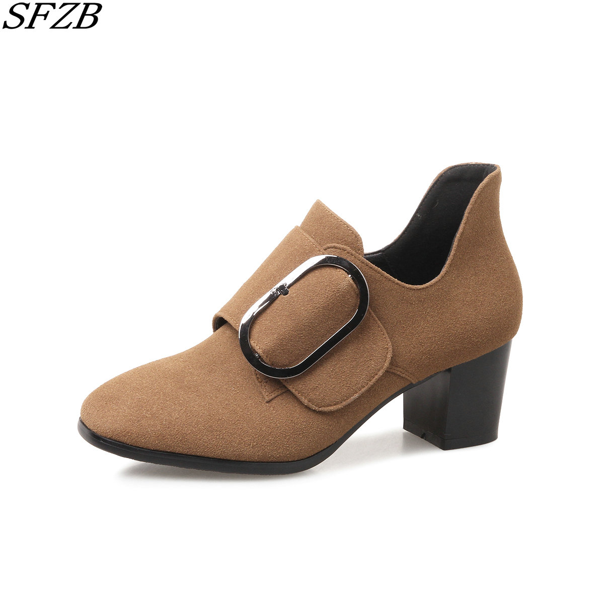 SFZB woman flock casual pumps new come round toe cheap shoes ladies spring outside british style women shoes high heels pumps xiaying smile woman pumps shoes women spring autumn wedges heels british style classics round toe lace up thick sole women shoes