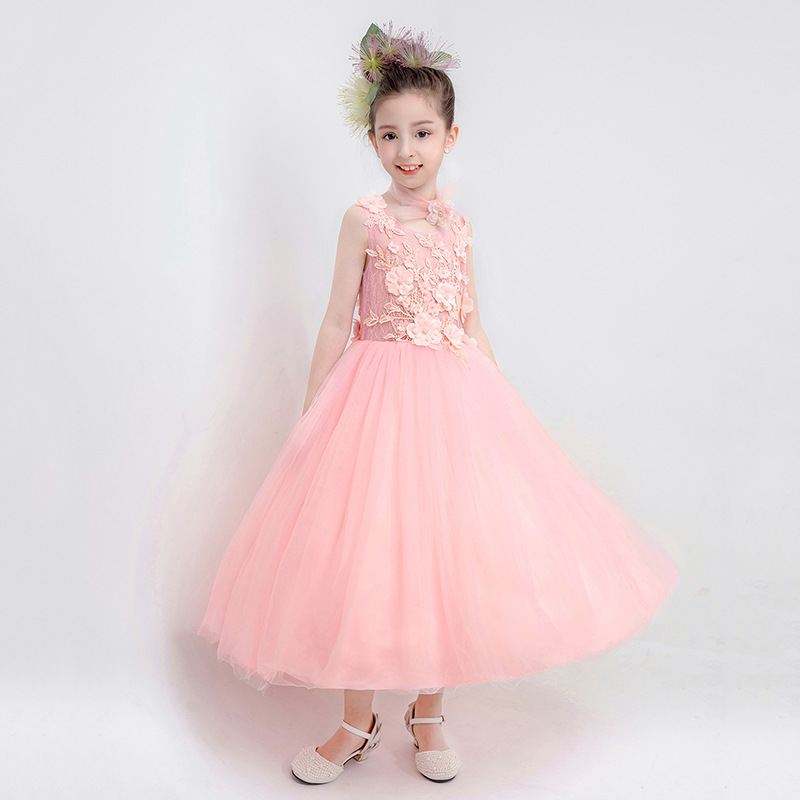 2019 Kids Girl Elegant Lace Pageant Party Wedding Ball Gown Teen Girl Princess Formal Prom Dress Children Bead Mesh Vestido Q4542019 Kids Girl Elegant Lace Pageant Party Wedding Ball Gown Teen Girl Princess Formal Prom Dress Children Bead Mesh Vestido Q454