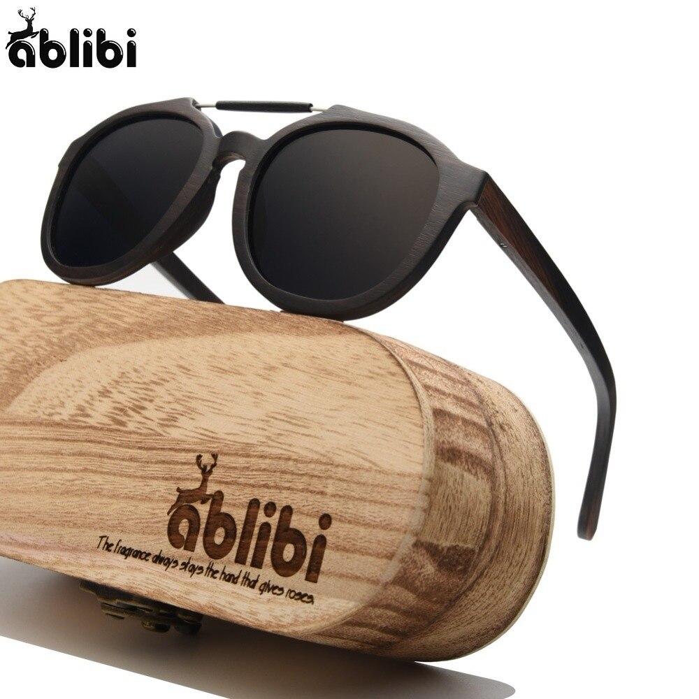 Ablibi 2018 New Ebony Solid Wood Mens Womens Sunglasses Street Style Polarized Mirror Lens in Wood Sunglasses Case oculos de sol
