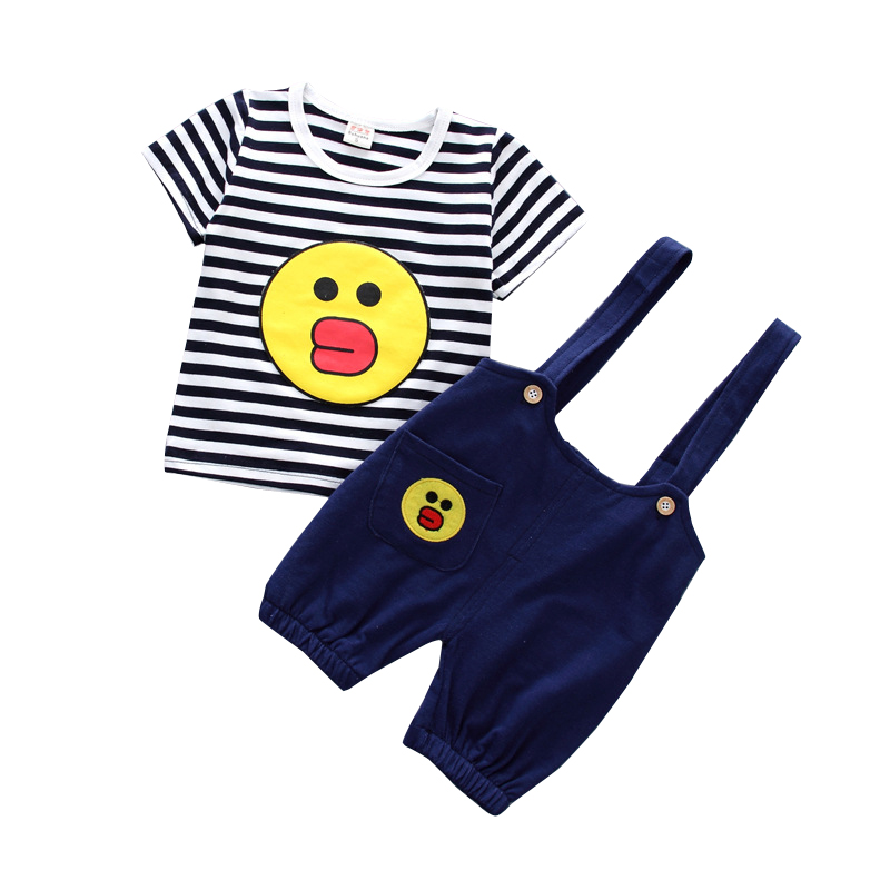 2018 Brands Summer Baby Girl Boy Clothing Set Baby Cotton Suit Casual Cute Smile T-shirt + Striped Shoulder Shorts Child Set
