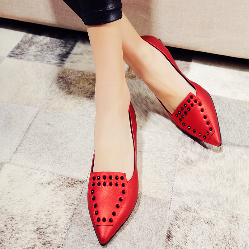 Rivets Decoration Brand Shoes Flats Women Spring Autumn Fashion Womens Flats Boat Shoes Sexy Ladies new spring autumn women shoes pointed toe high quality brand fashion ol dress womens flats ladies shoes black blue pink gray