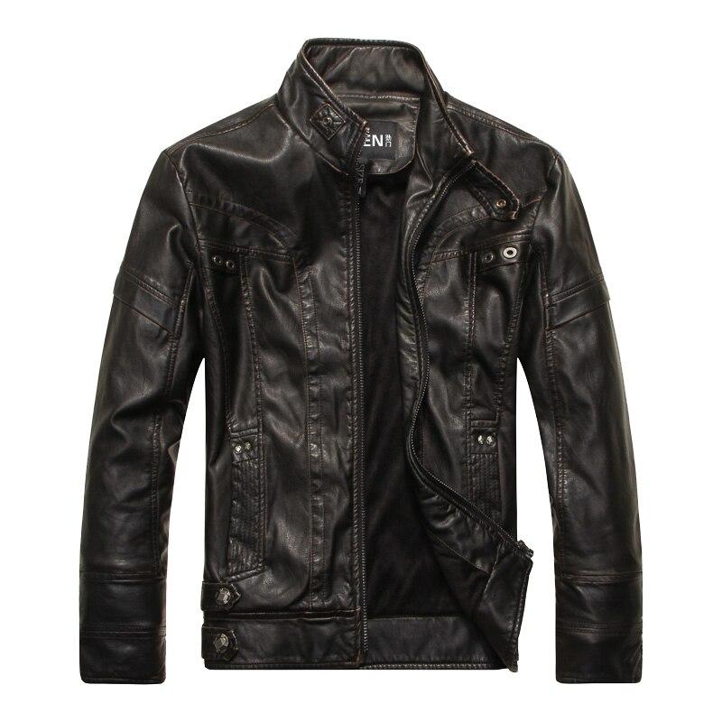 DHfinery invierno chaqueta de cuero de los hombres de pie delgado - Ropa de hombre - foto 3