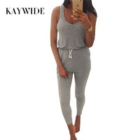 Kaywide New 2016 Summer Low Cut Rompers Womens Jumpsuit Grey Elastic Waist Sleeveless Long Pants Playsuit