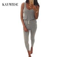 Kaywide New 2016 Summer Low Cut Rompers Womens Jumpsuit Grey Elastic Waist Sleeveless Long Pants Playsuit