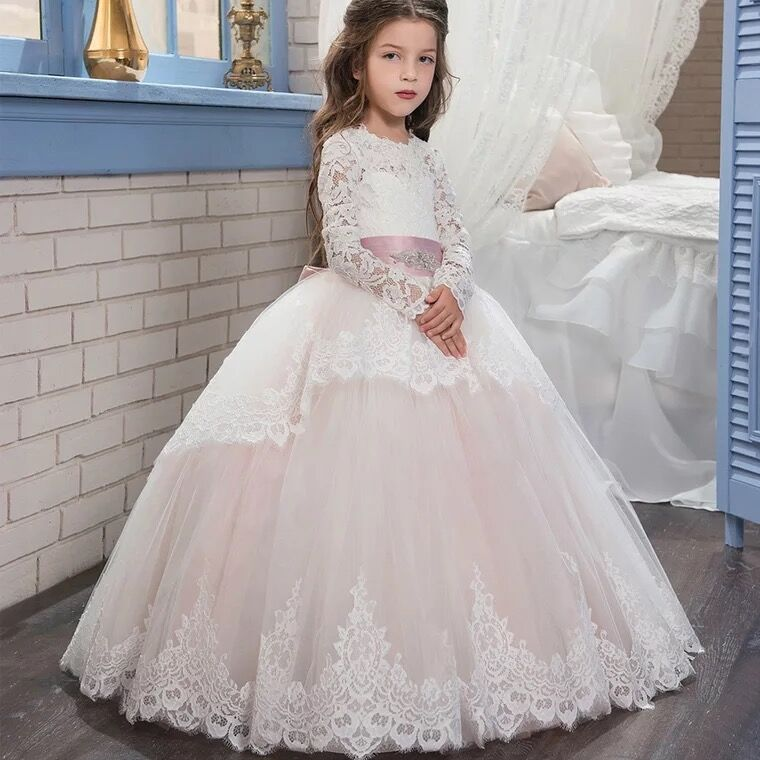 2019 Princess Soft Tulle White Pink Puffy Lace   Flower     Girl     Dresses   2019   Girls   Pageant   Dress   First Communion   Dresses   Party Gown