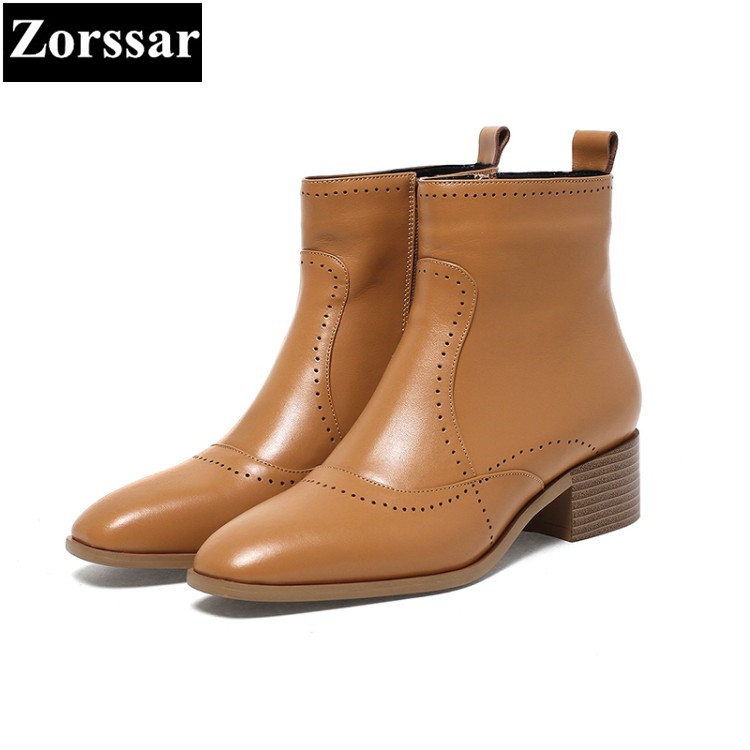 {Zorssar} 2017 NEW arrival fashion High heels Women Chelsea Boots Square Toe leisure low heel ankle boots winter female shoes new arrival superstar genuine leather chelsea boots women round toe solid thick heel runway model nude zipper mid calf boots l63