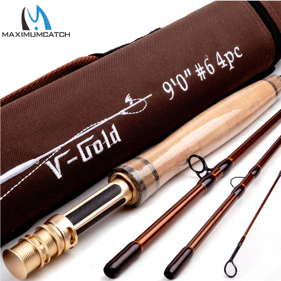 Maximumcatch V-Gold 9FT Fly Fishing Rod 4/5/6/8 WT 4Pcs Fast Action Pacbay Guides Fly Rod with a Triangle Cordura Rod Tube maximumcatch fly fishing rod 9ft 5wt 4pcs half well fast action with aluminium tube fly rod