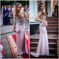 Vestido De Festa Sereia Prom Vestido Longo Colher Zipper Trem Da Varredura Dividir Side Chiffon Prom Vestidos Mulheres Vestido Formal