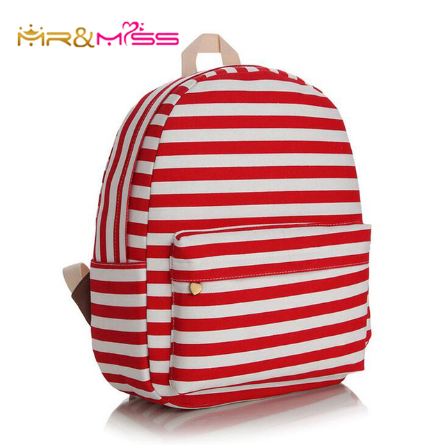 Red White Striped Print Women Korean Fashion Canvas Backpack Children Kids School  Bag Teenagers Girls Laptop Book Bags Backpacks 4dfa5f8556f33