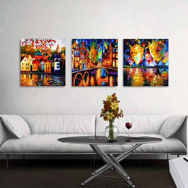 3pcs building landscape A balloon Abstract coloroil painting no ...