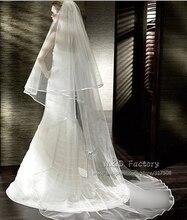 รูปภาพจริงสีขาว/งาช้าง 2 ชั้นผ้าคลุมหน้างานแต่งงาน 3 เมตรริบบิ้นขอบ Mantilla เจ้าสาวเจ้าสาวงานแต่งงานอุปกรณ์เสริม veu De Noiva 45