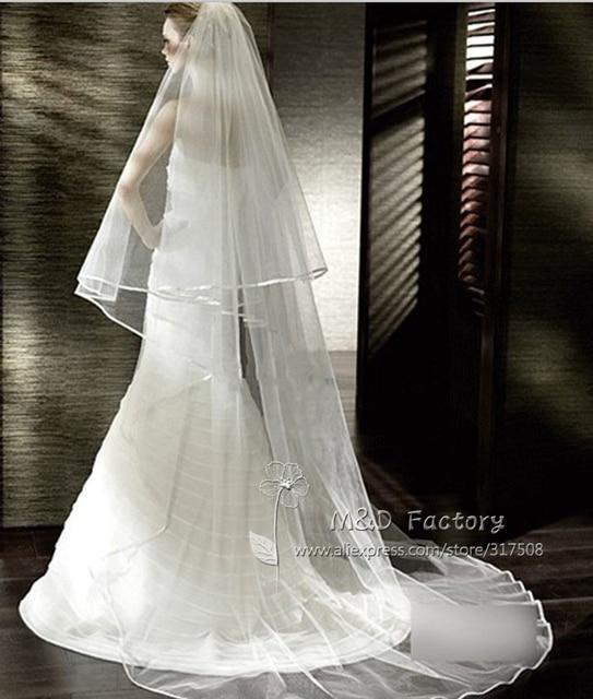 Real Photo White/Ivory Two Layer Wedding Veil 3m Ribbon Edge Mantilla Bridal Veil Of Bride Wedding Accessories Veu De Noiva 45