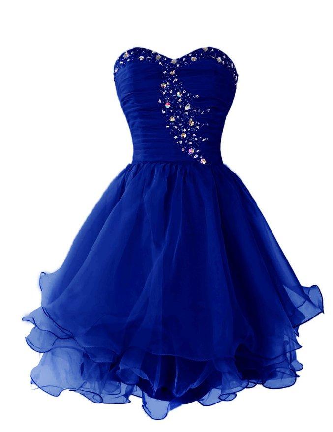 Royal Blue Short Prom Dress With Ruffles Beading