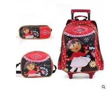 Girl's Travel luggage Trolley School Bag with wheel Kids Rolling Bag on wheel Dora Children trolley School Backpack Set for girl