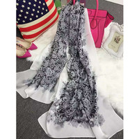 Summer Beach Towel 65 175cm Rectangle White Shawl Butterfly Sunshading Freshness Twill Silk Scraf Black Flower