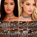 Boho Turquoise Bead Choker Necklace Gothic Vintage Bohemia Neck Collar Ethnic Jewelry For Women Collier #83377