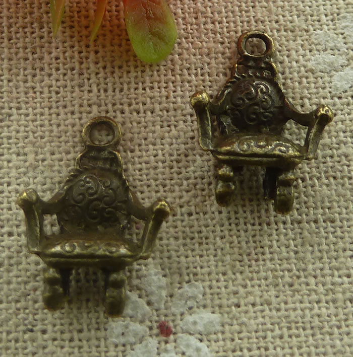 Charms 120 Pieces Bronze Plated Chair Charms 20x14mm #2123 We Have Won Praise From Customers