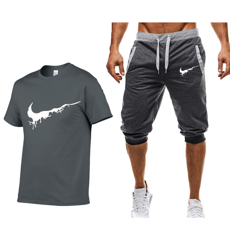 summer-men's-sets-t-shirts-shorts-men-brand-clothing-two-piece-suit-tracksuit-fashion-casual-tshirts-gyms-workout-fitness-sets