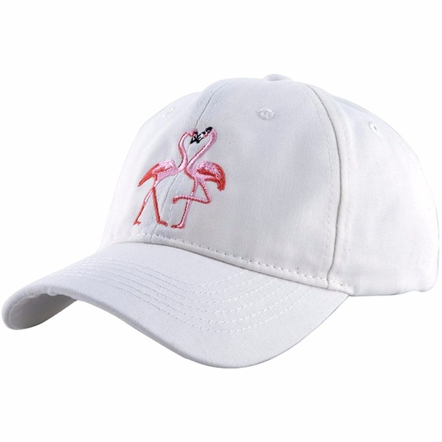 4e03772118e 2017 New Men and women white Baseball Caps dual Lovely Flamingo Embroidery  snapback outdoor golf hat dad Hats 100% cotton