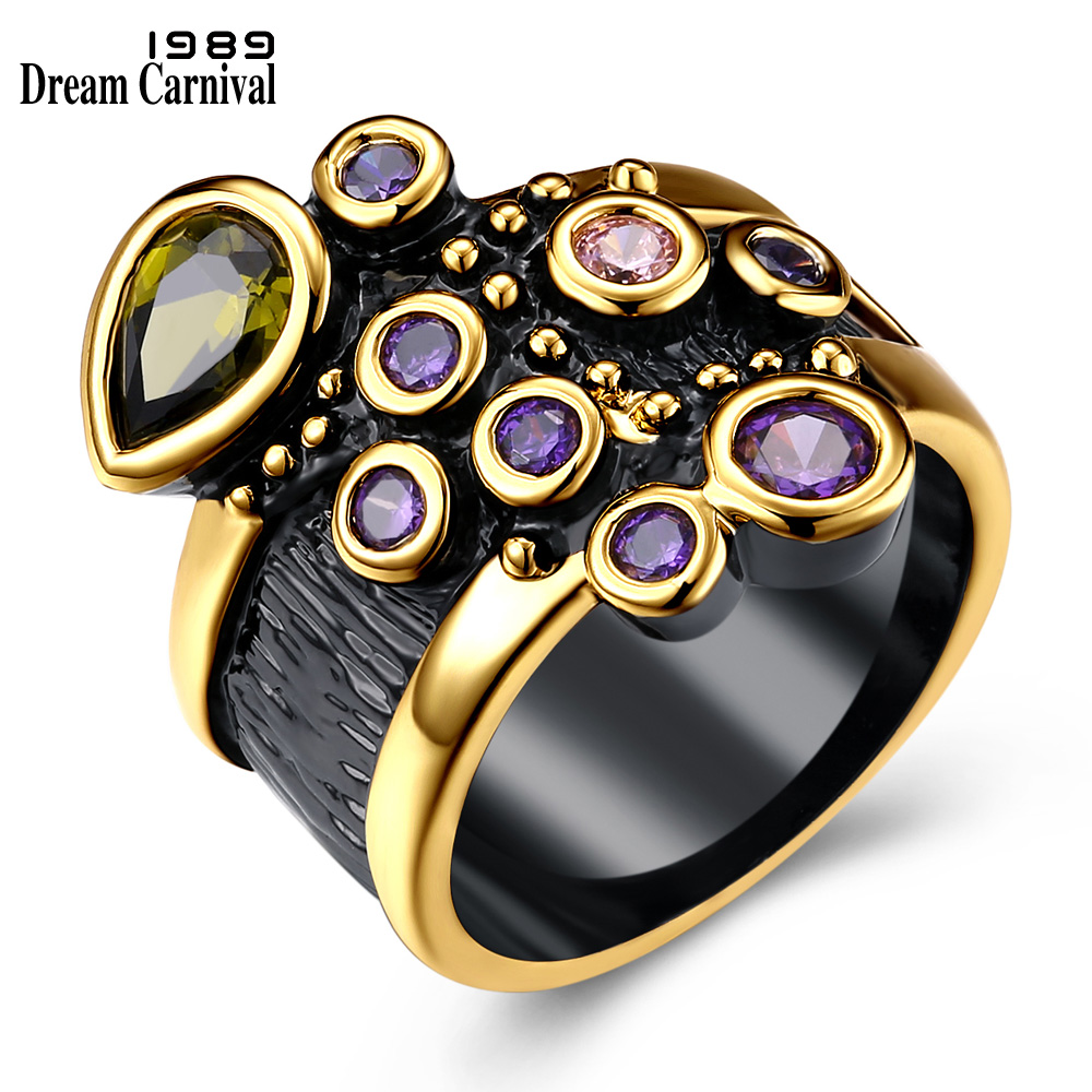 DreamCarnival Vintage Women Ring Multi Shape Colorful CZ Wedding Engagement Jewelry Gold Color Antique Anillos Mujer Moda DC1989