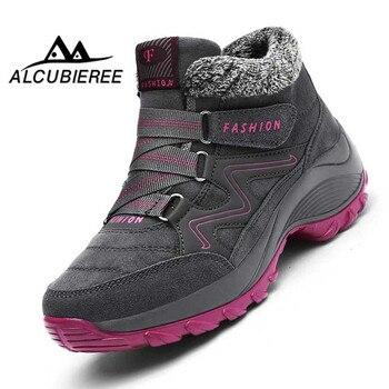Зимние ботильоны, женские ботинки на танкетке, непромокаемые зимние ботинки на платформе, Зимняя Теплая обувь, женская модная обувь на плос...