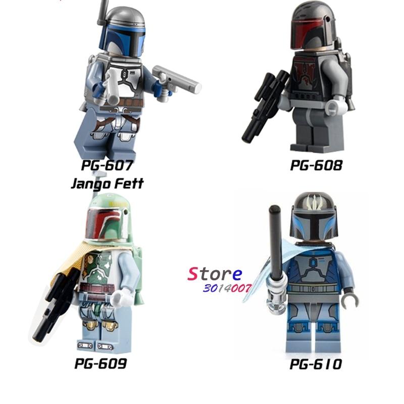 White Boba Fett Mandalorian Jango Fett Star Wars Series Minifigure Blocks Lego