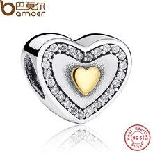 Sparkling 925-sterling-silver Oro Amarillo Plateado Siempre En Mi Corazón Del Encanto Cupieron La Pulsera de Dos Tonos Joyería Que Hace PAS034