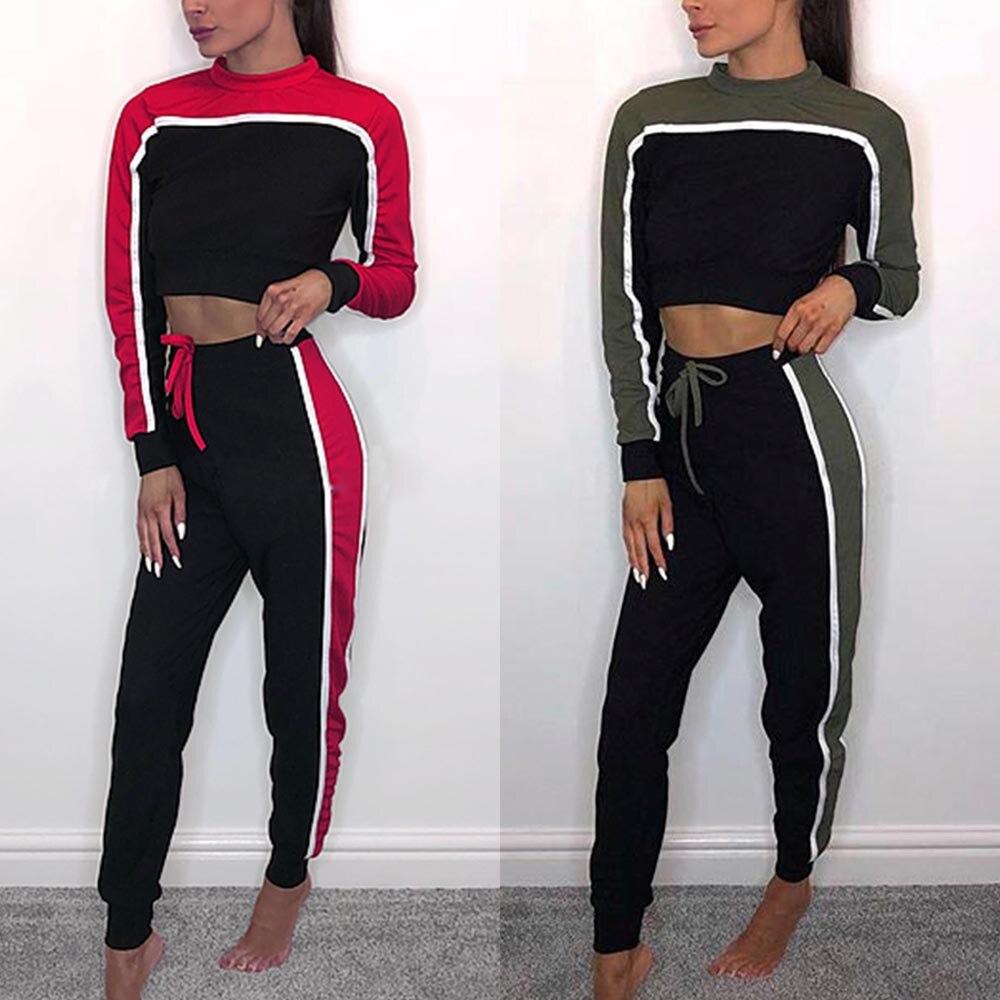 Automne femmes sweats ensembles Crop sweat pantalon deux pièces survêtement Patchwork rouge et vert populaire Vogue survêtement pour les femmes