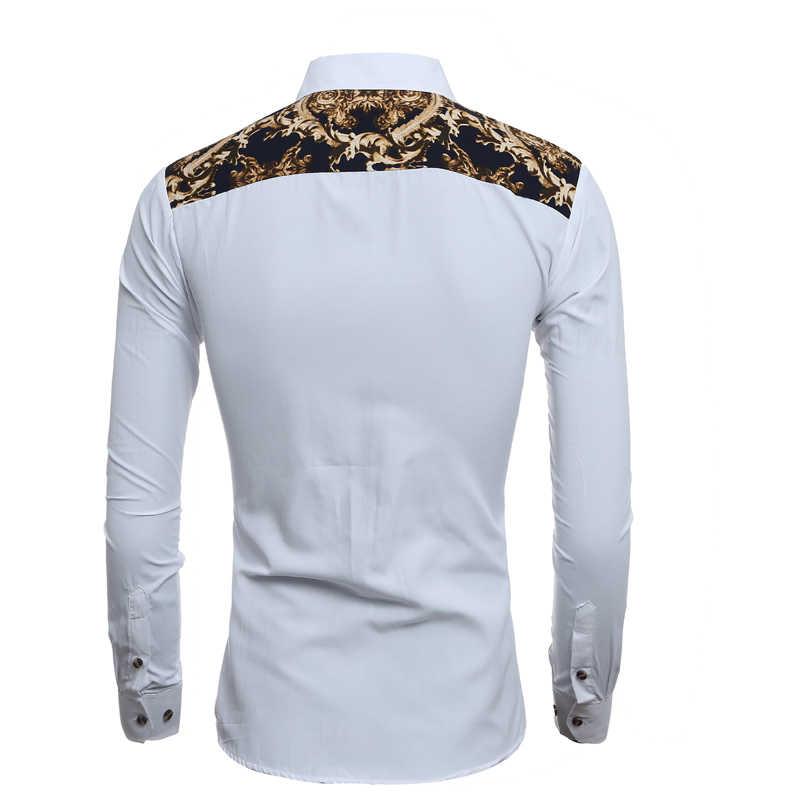 Для мужчин рубашка Элитный бренд 2017 Мужская рубашка с длинными рукавами Повседневное Для мужчин s джинсовые Печать Slim Fit рубашки Для мужчин s Hawaiian1