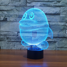 7 Color Change LED 3D Animal Penguin Night Light Table Desk Lamp Acrylic Flat ABS Base USB Charger Home Decoration Toy Brithday