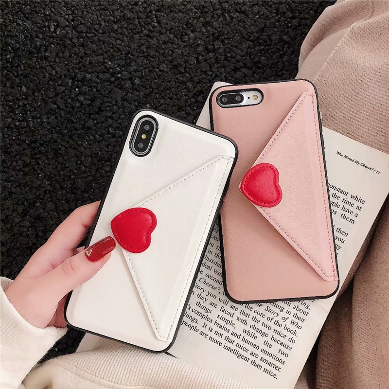JAMULAR 3D Love Heart Envelope Design Case For iPhone 7 X 10 XR XS Max 6 6s 8 Plus Flip PU Leather Wallet Phone Cover Card Coque