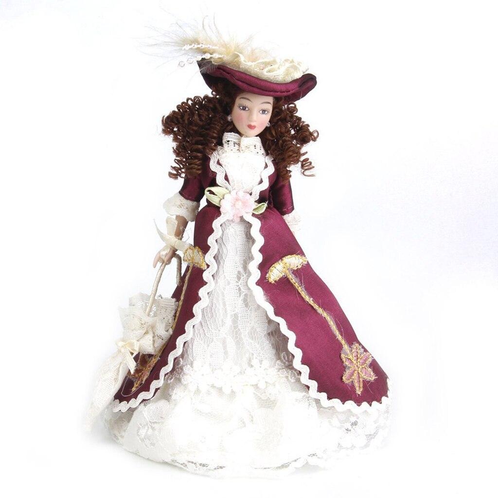 1:12 Dollhouse European Lady Miniature Porcelain Dolls Senora Clasica With Sombrero 1pz 15cm