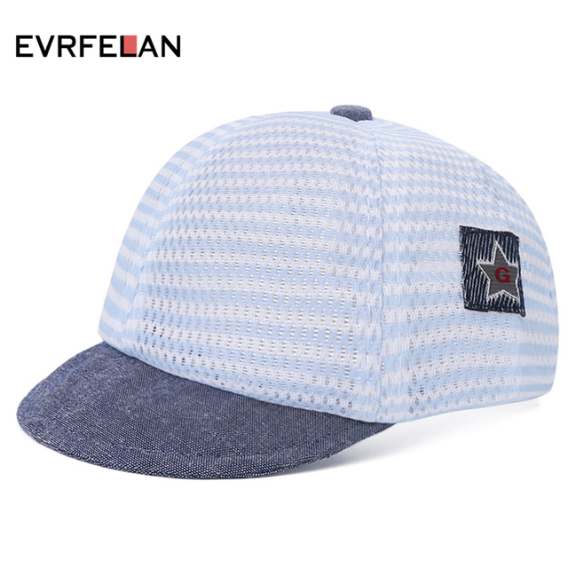 cfde072cd9286d 2019 Kids Boys Baseball Cap Fashion Hat For Children Mesh Hat Summer Cap  For Boys Striped Casual Hats For Girls Cap