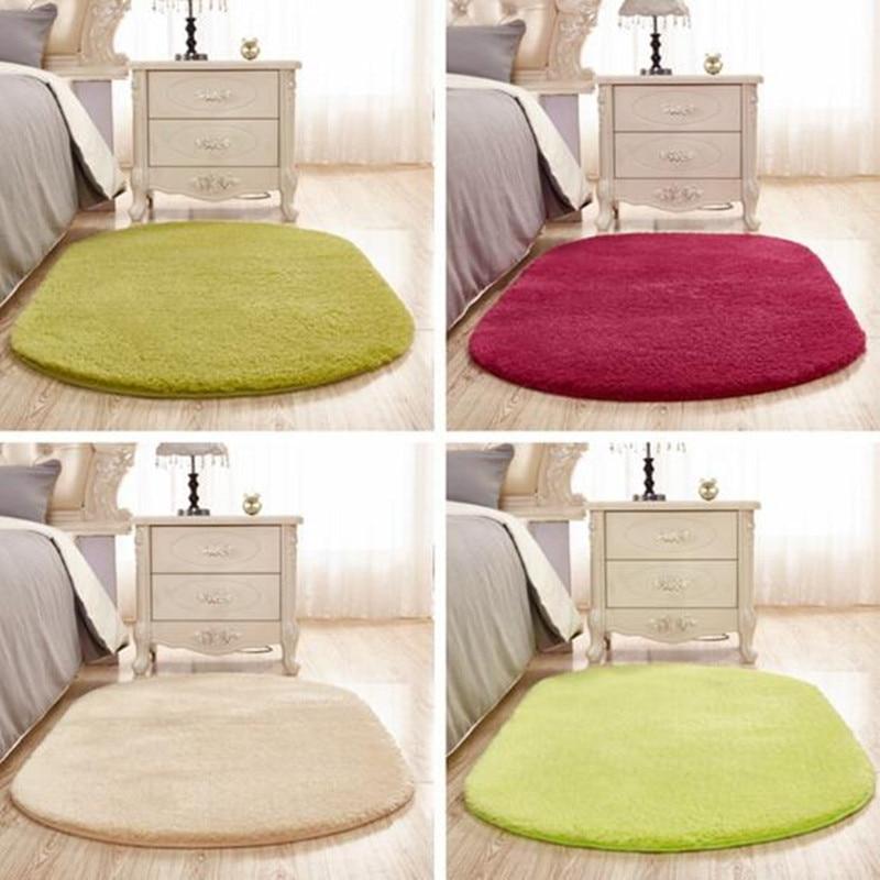 Lamb Velvet Oval Cute Carpet Mat Home Living Room Coffee