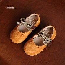 Koovan Enfants Shoes Printemps Section 2017 Nouvelle-Coréen de Filles Shoes Princesse Strass Mat En Cuir Arc Enfants Appartements De Danse