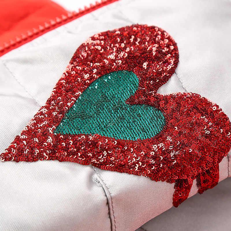 Для женщин Новинка зимы две стороны носить короткий пуховик Дамская мода любовь верхняя одежда с блестками с длинным рукавом повседневное серебристо